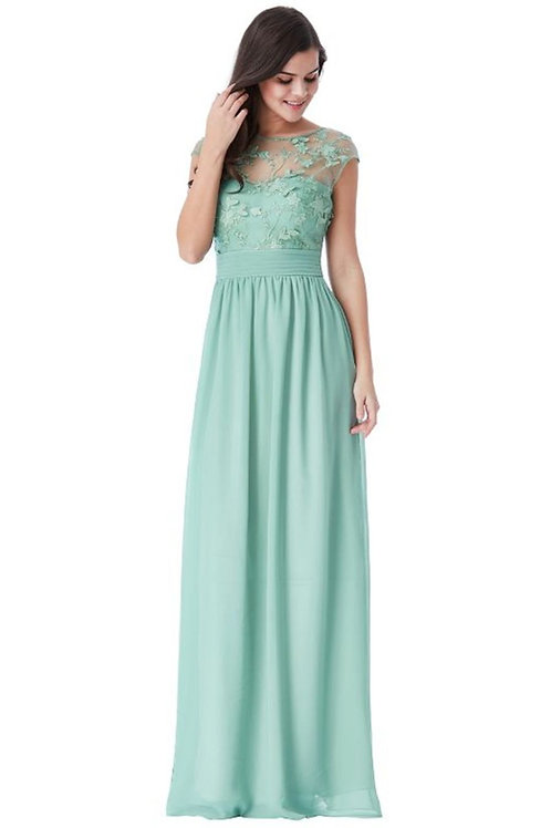 Chiffon Prom Dress with Flower Mesh Bodice