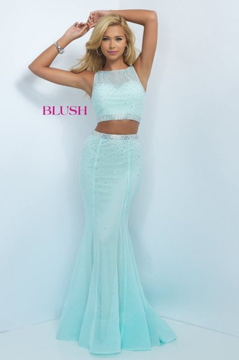 Two Piece Fit and Flare Prom Dress