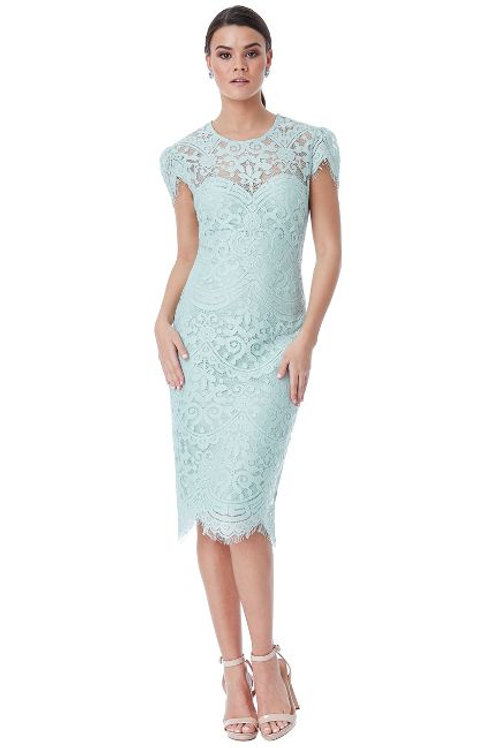 Lace Dress with Scalloped Hemline