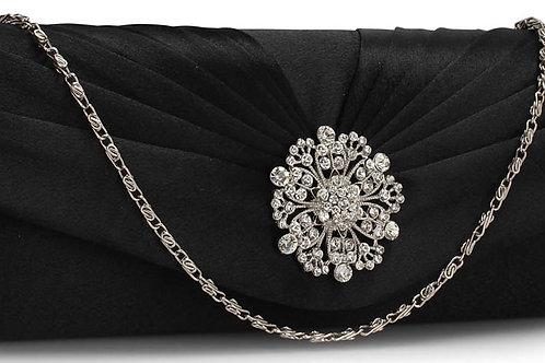 Black Clutch Bag with Crystal Flower Design