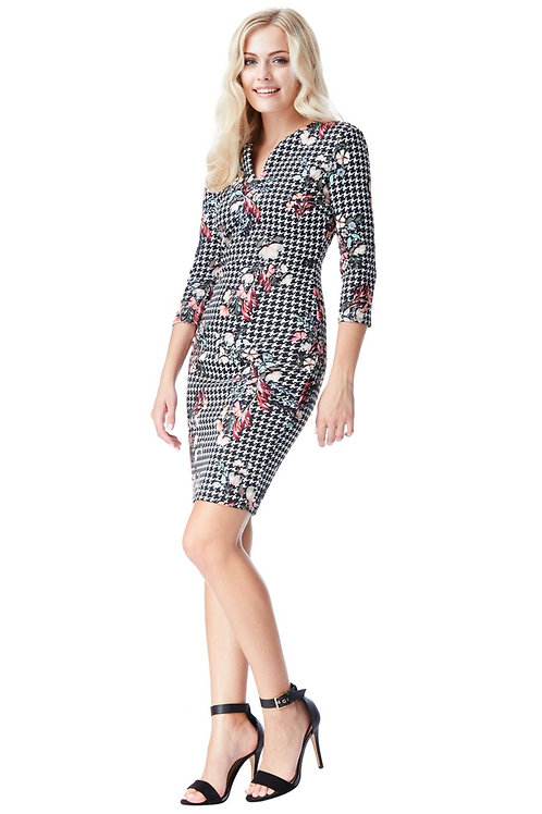 Floral Dog-Tooth Print Dress