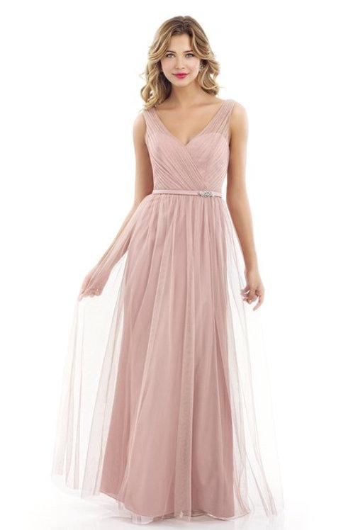 Long Tulle Dress with V-Neckline