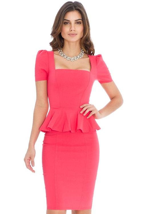 Square Neckline Peplum Dress