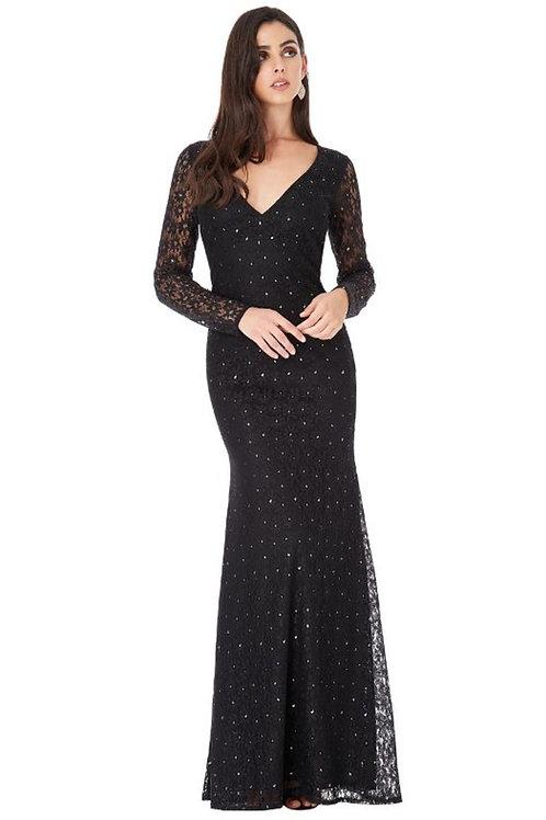 Long Sleeved Keyhole Back Evening Dress