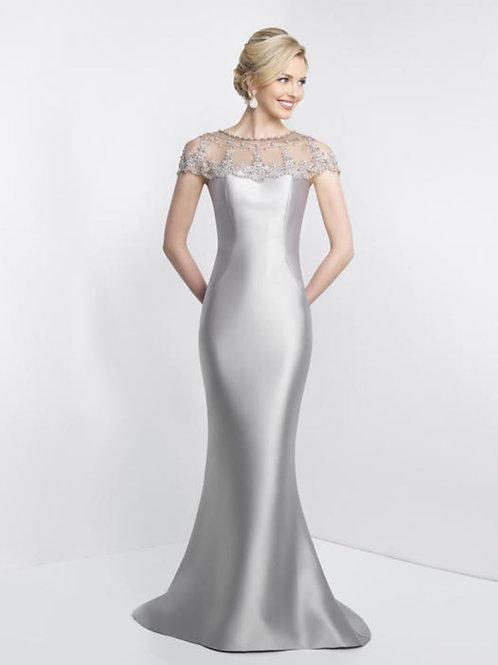 Mermaid Style Evening Dress with Beaded Sheer Neckline