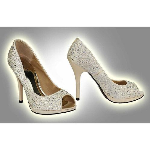 Diamante Peep Toe Shoes