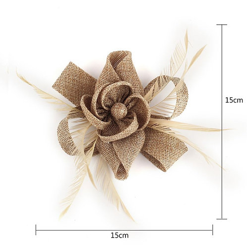 Khaki Feather & Flower Fascinator