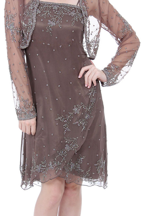 Silk Beaded Dress with Matching Jacket