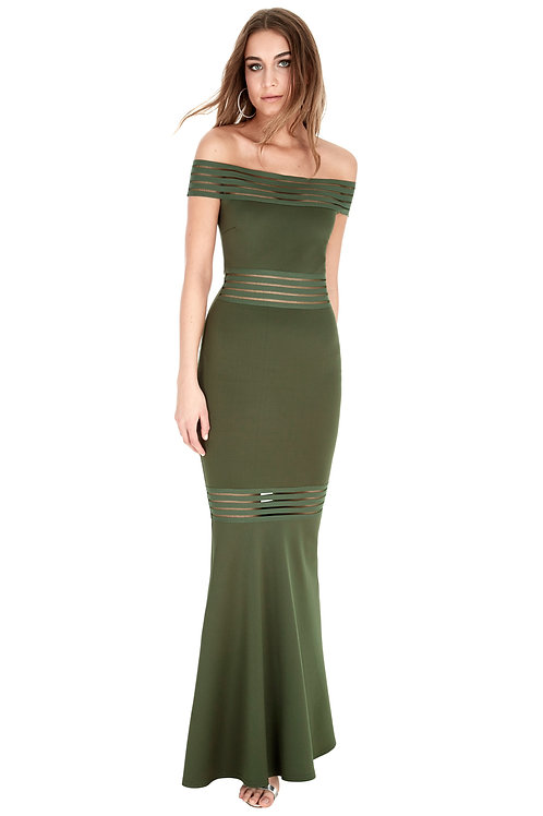 Maxi Dress with Cut-outs and Bardot Neckline