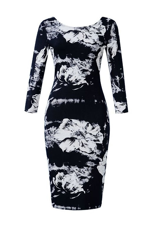 Long Sleeved Stretchy Floral Dress