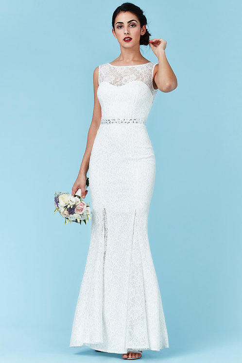 Backless Simple Lace Wedding Dress