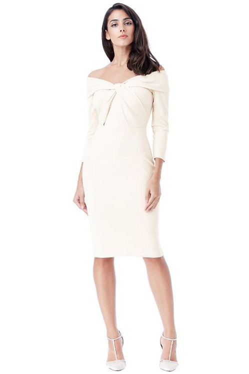 Long Sleeved Dress with Twisted Neckline