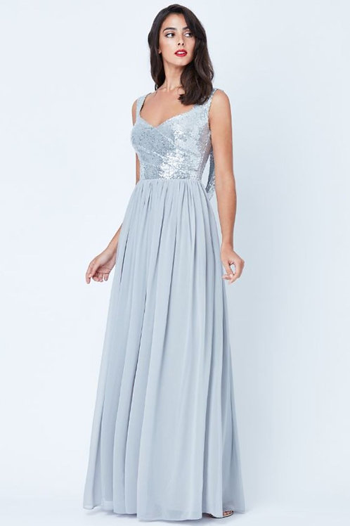 Cowl Back Sequin and Chiffon Dress