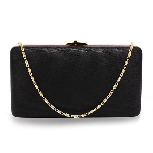 Black Clutch Bag with Gold Metal Work