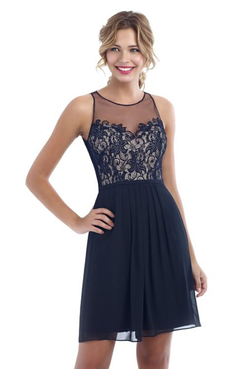 Chiffon Dress with Lace Top and Floral Detail