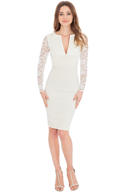 Short Viscose Dress with Lace Overlay Top and Sleeves