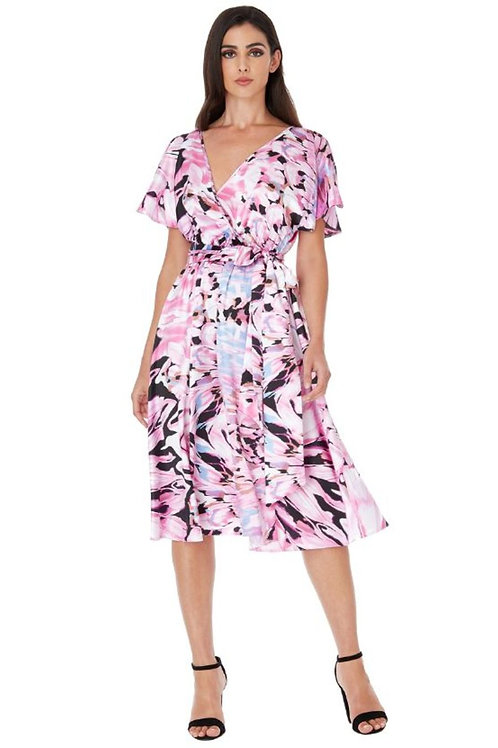 Floral Print Dress with Flutter Sleeves