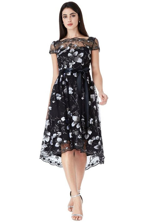 Floral Embroidered High Low Dress
