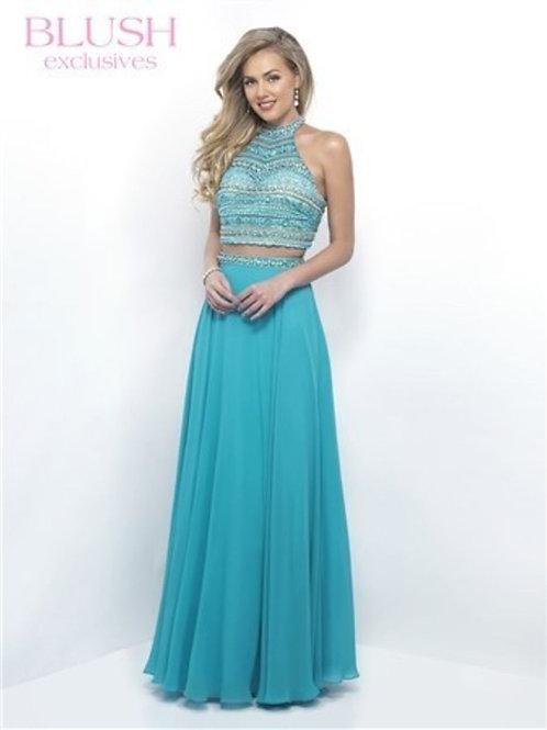Two Piece Aqua Blush Prom Dress