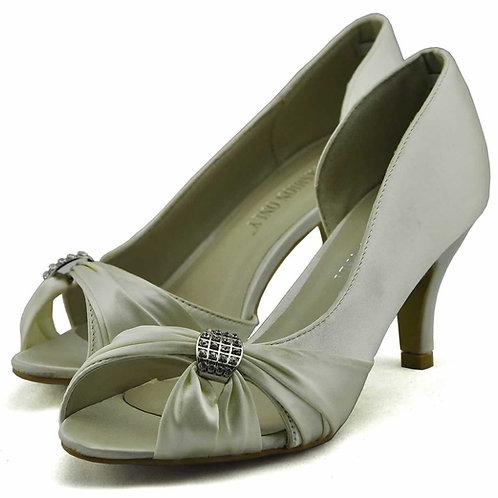 Peep Toe Satin Court Shoes