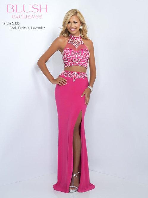 Two Piece Pink Blush Prom Dress