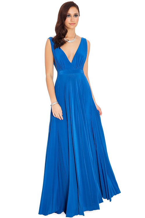 Full Length Dress with Plunge Neckline and Sunray Pleats