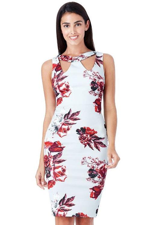 Floral Print Cut-Out Dress
