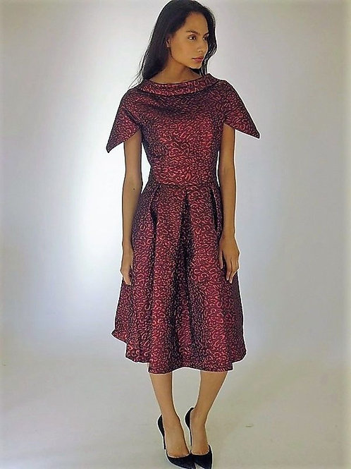 Metallic Jacquard Leopard Print Dress