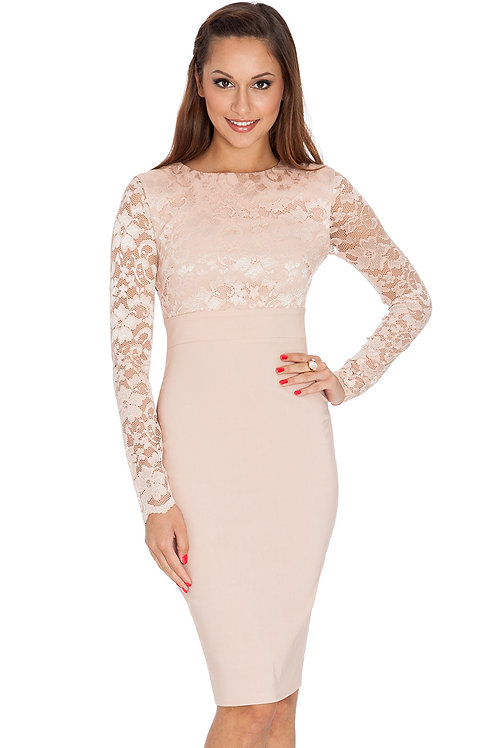 Fitted Knee Length Dress with Lace Overlay Top