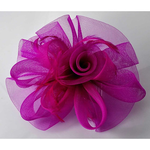 Mesh and Feather Fascinator on a comb