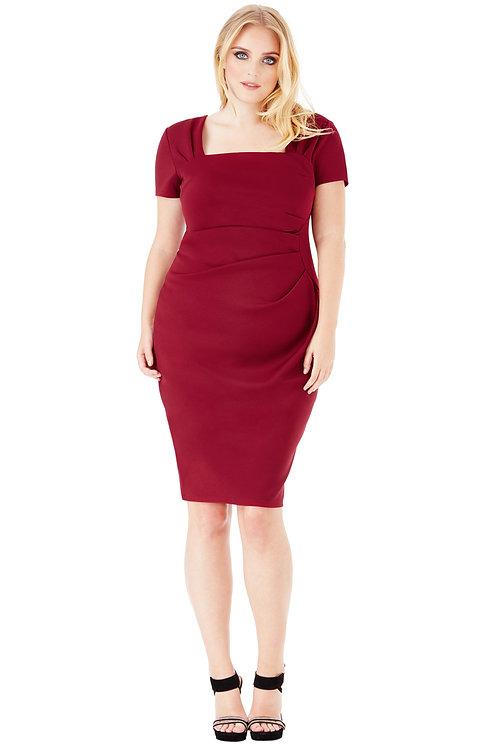 Wine Short Sleeved Plus Size Dress