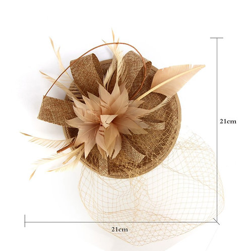 Mesh Hat Feather Fascinator with veil