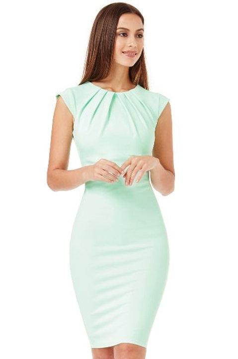 Cap Sleeve Pleated Neckline Dress