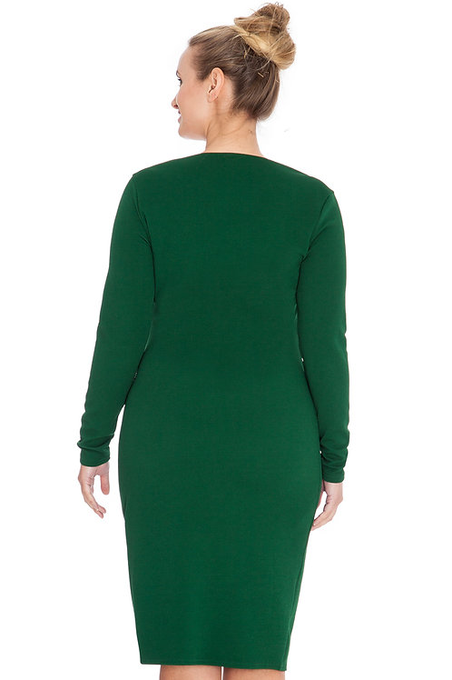Ruched Long Sleeved Knee Length Dress
