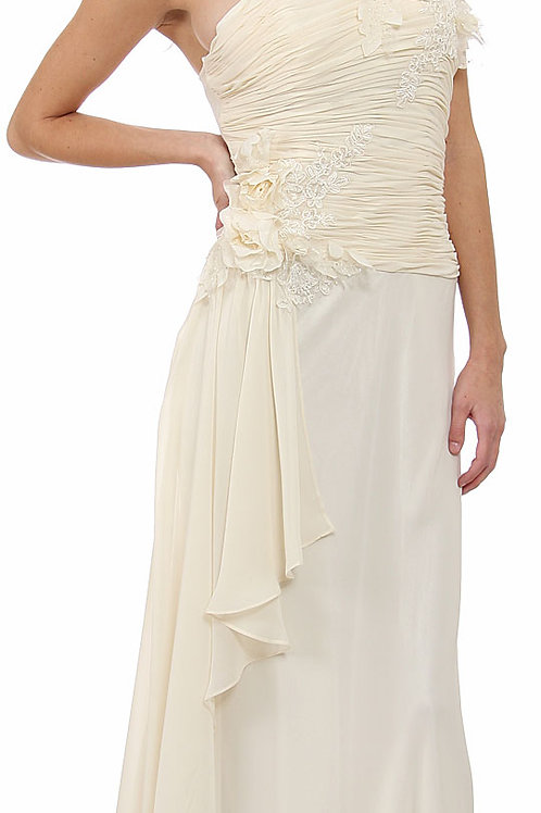 Floral Sheered Bodice Wedding Dress