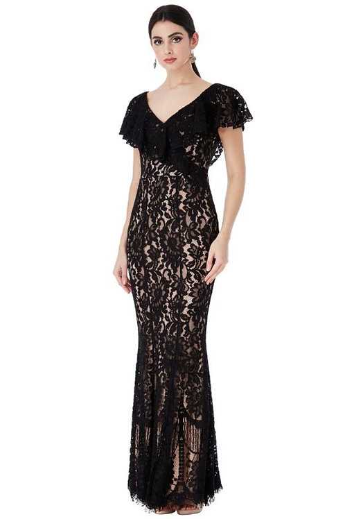 Lace Evening Dress with Frilled Neckline