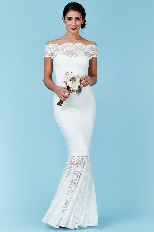 Lace Fishtail Wedding Dress with Bardot Neckline