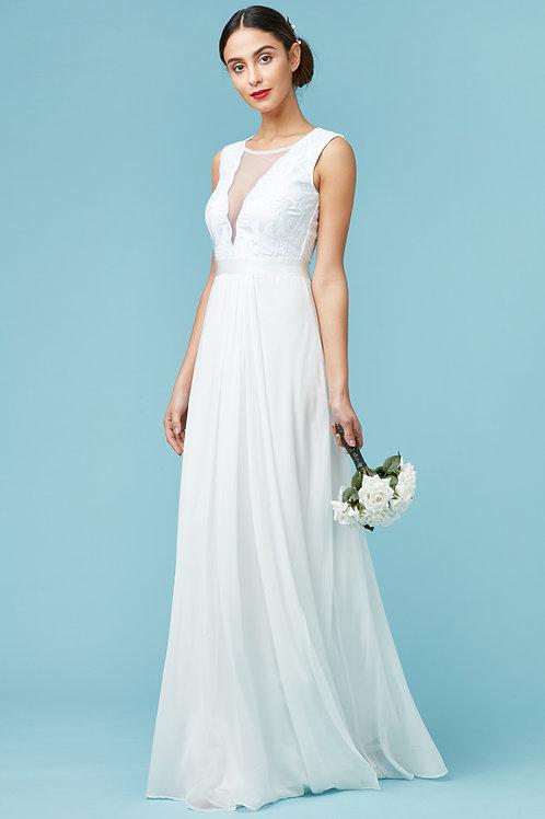 V Neckline Chiffon Wedding Dress