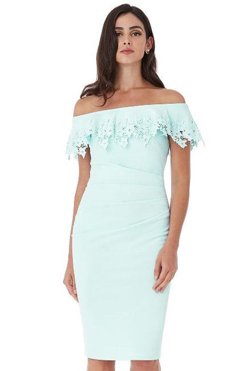 Embroidered Frill Bardot Neckline Dress