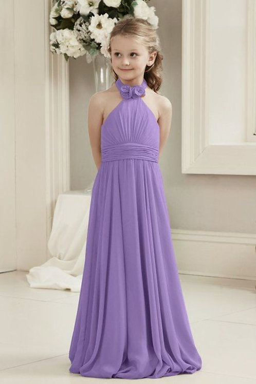 Junior Chiffon Bridesmaid Dress with High Neckline