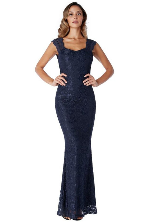 Open Back Lace Evening Dress