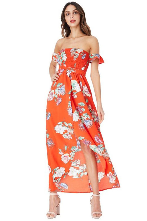 Floral Print Dress with Stretchy Bandeau Top