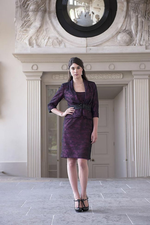Wine and Black Dress and Jacket in Lace
