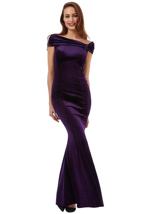 Bardot Style Velvet Evening Dress