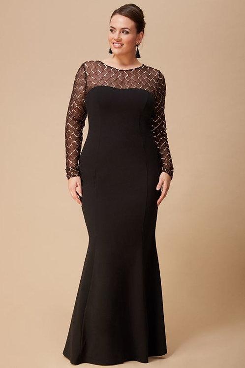 Diamond and Sequin Long Sleeve Evening Dress