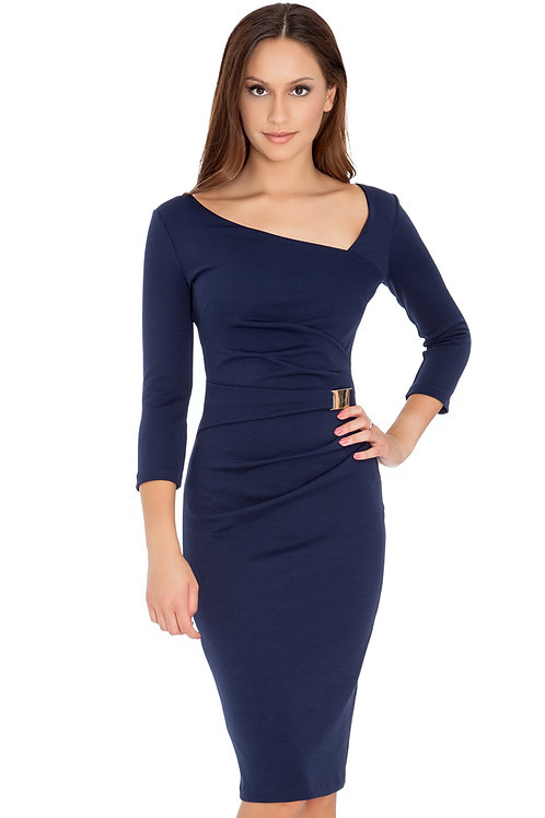 Fitted Dress with Asymetric Neckline