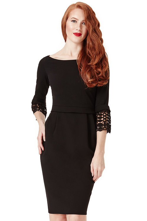 Tulip Knee Length Dress with Lace Detail on Sleeves