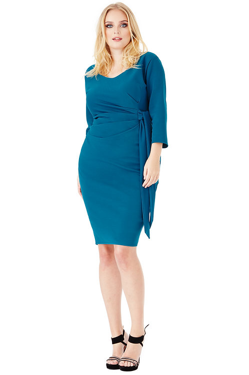 Knee Length Plus Size Dress with Side Tie Detail