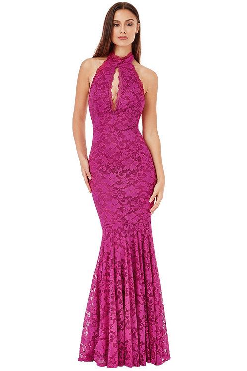 Full Length Lace Dress with Ruffled Hem
