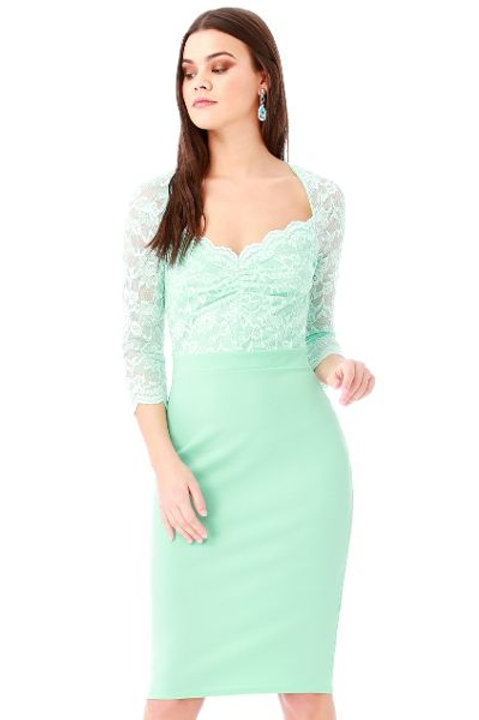 Sweetheart Neckline Dress with Lace Bodice and Sleeves